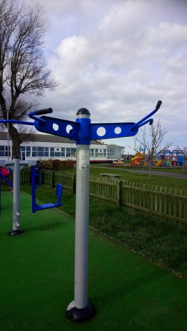 an image of gym equipment in an outside park where the aim is to lift your body off the ground and to raise your chin