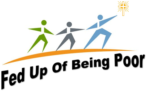 Fed up of being poor logo. 3 people heading on a bridge towards the sun reaching out