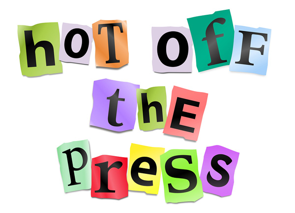 image displaying the words hot off the press